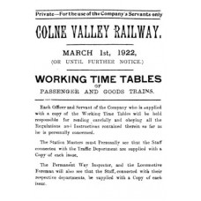 TW019  CVHR Working Timetables for 1922 and 1923