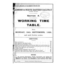 TW056  LNER Working Timetable for the GE area Section A 1928