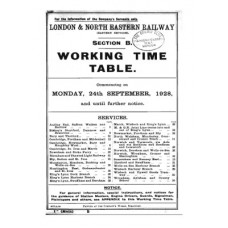 TW057  LNER Working Timetable for the GE area Section B 1928
