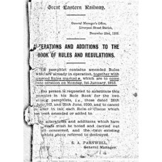 RR070:  Amendments to the GER Rule Book 1st January 1923.