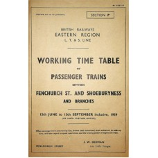 TW063:  LTSR Passenger Working Timetable Summer 1959.