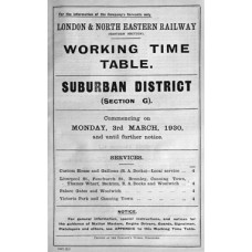 TW066:  LNER GE Section G Suburban Working Timetables 1930.