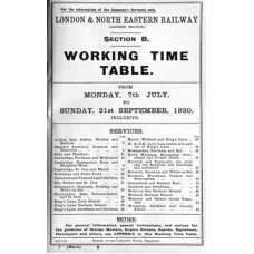 TW069  LNER Working Timetable for the GE area Section B, summer 1930.